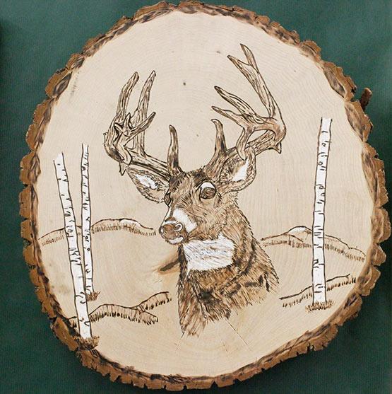 Wood Burned Deer Head
