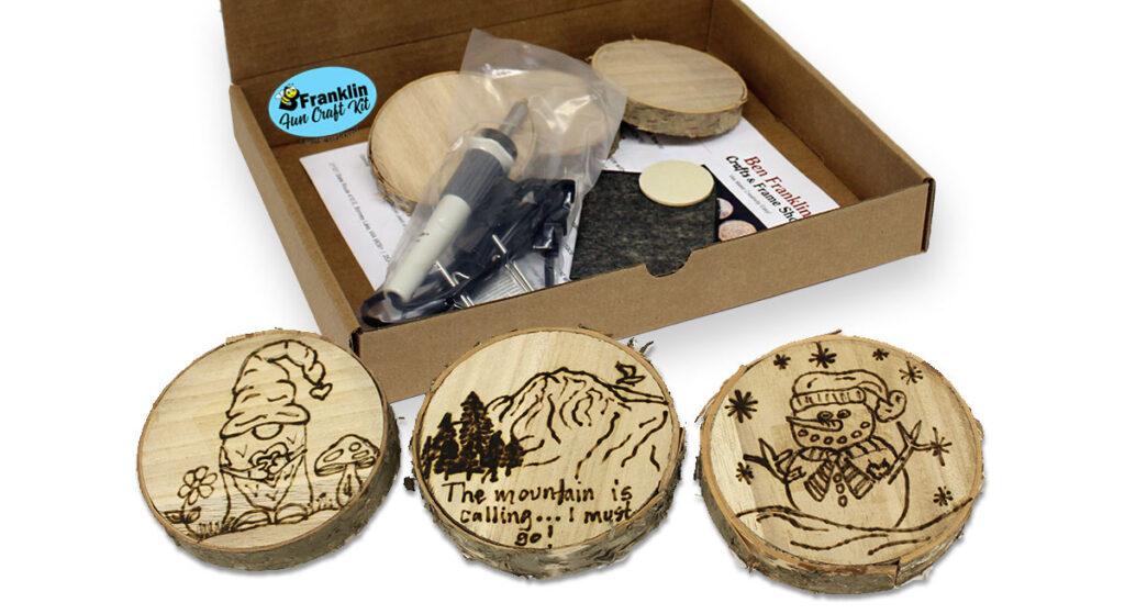 DIY Wood Burned Coasters Kit