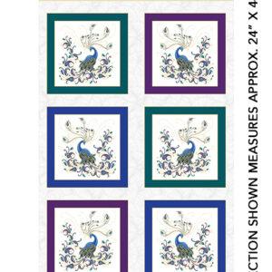 Peacock Flourish Fabric Panel