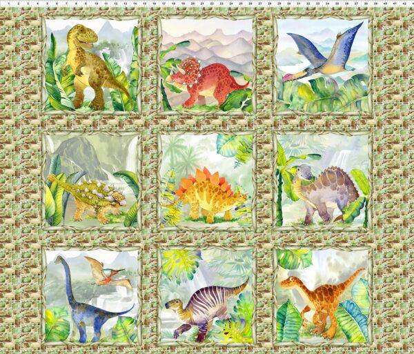 Dinosaur Friends Fabric Panel