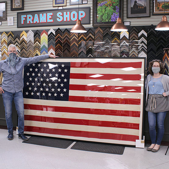 Framed oversized usa flag