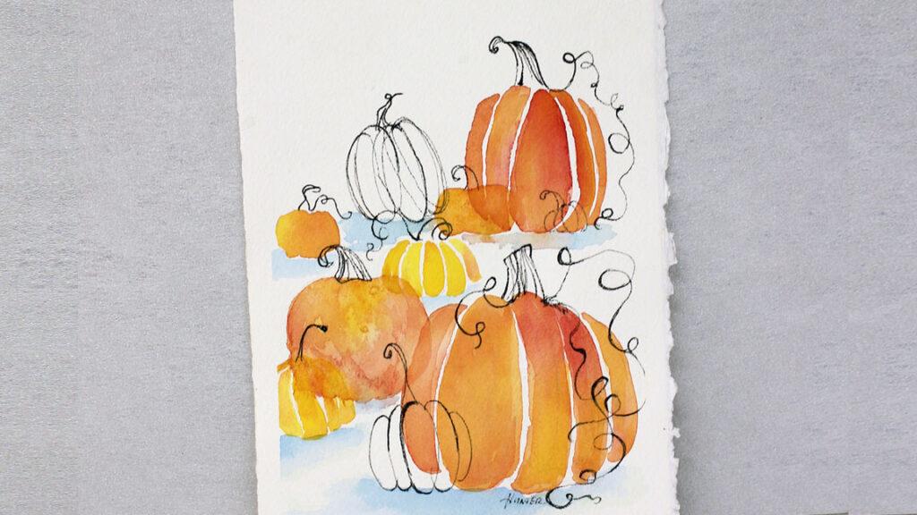 Watercolor Painting Pumpkins