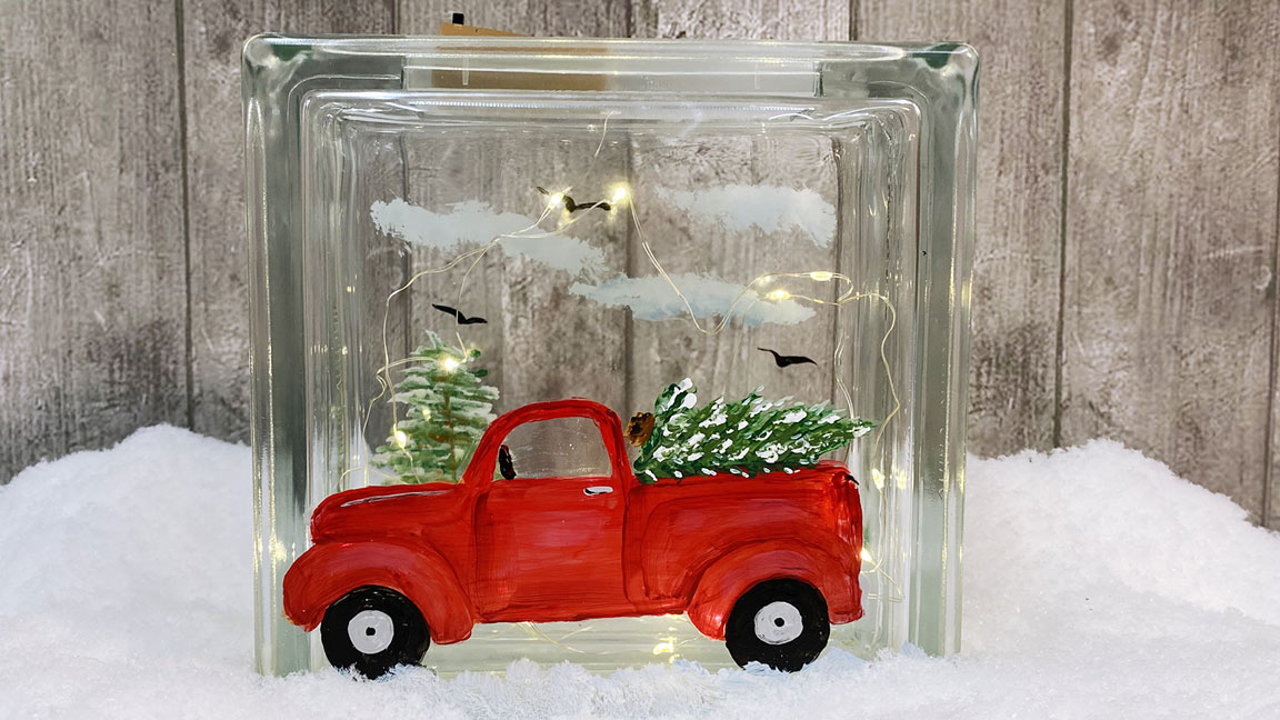 Red Truck Glass Painting